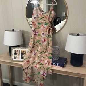 High-low wrap dress